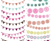 Bunting Photoshop Brushes, Birthday Wedding Baby Shower Bunting Photoshop Brushes - Commercial and Personal Use