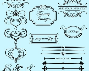 Flourishes and Frames Clip Art Clipart - Commercial Use