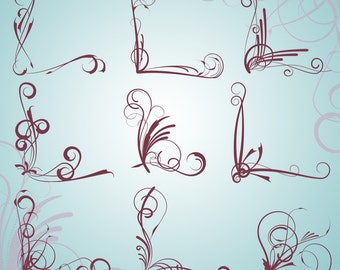 Flourishes Photoshop Brushes Corner Flourishes Photoshop Brushes - Commercial and Personal