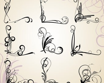 Corner Flourishes Clip Art Clipart - Commercial Use