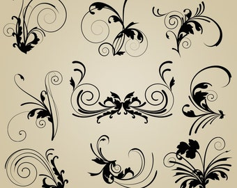 Flourishes Clip Art Clipart Elegant Flourishes Clip Art Clipart - Commercial and Personal