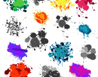 Paint Splatters Clip Art Clipart - Commercial and Personal
