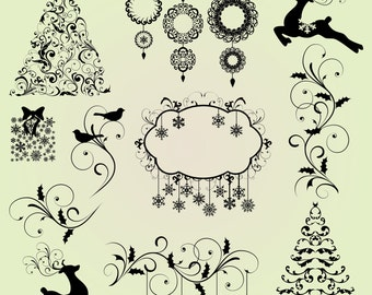 Christmas Clip Art Clipart Christmas Silhouettes Clip Art Clipart - Commercial Use