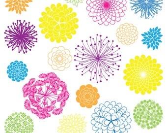 MEGA PACK Rainbow Flower Silhouettes Clipart Clip Art, Flower Clipart Clip Art - Commercial and Personal Use