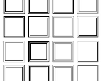 Square Frames Clipart Clip Art, Square Line Frames Clipart Clip Art - Commercial and Personal Use