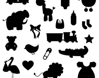 Baby Shower Silhouettes Clipart Clip Art - Commercial and Personal Use
