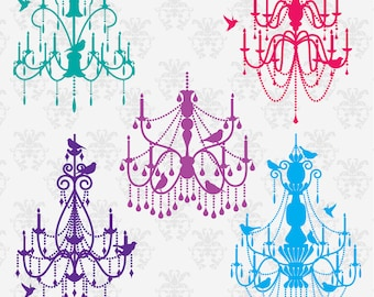 Chandeliers with Birds Photoshop Brushes, Chandelier Silhouettes Photoshop Brushes - Commercial and Personal Use