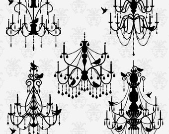 Chandeliers and Birds Clipart Clip Art , Chandelier Silhouettes Clipart Clip Art - Commercial and Personal Use