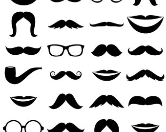Mustache Clipart Clip Art, Glasses Clipart Clip Art, Lips Clipart Clip Art - Commercial and Personal Use