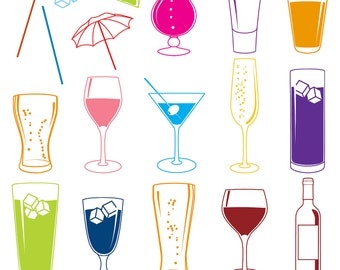 Cocktail Photoshop Brushes with Wine, Beer, Martini and Champagne- Commercial and Personal Use