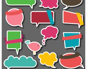 Speech Bubbles Clipart Clipart, Labels Stickers Tags Frames - Commercial and Personal Use