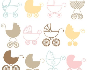Baby Carriage Photoshop Brushes, Stroller Pram Photoshop Brushes - Commercial and Personal Use