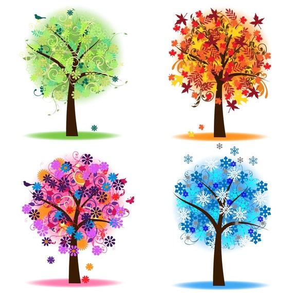 Vier Jahreszeiten Bäume Clipart ClipArt Frühling Von