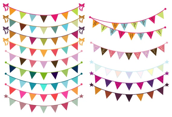 Bunting Clip Art Clipart - Commercial and Personal