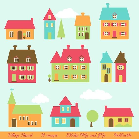 Village Clip Art Clipart Town Clip Art Clipart Houses Clip Art