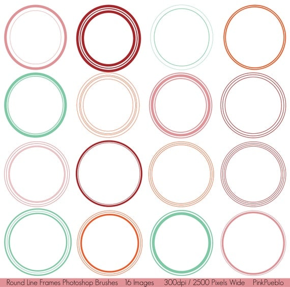 Round Line Frames Photoshop Brushes - Commercial and Personal Use