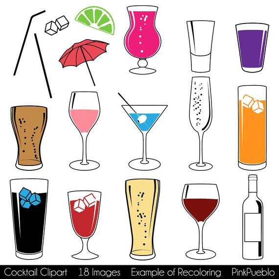 cocktail clipart clipart mit wein bier sekt martini von pinkpueblo. Black Bedroom Furniture Sets. Home Design Ideas
