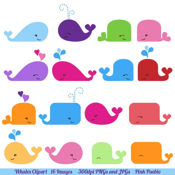Whale Clipart, Whale Clip Art- Commercial and Personal