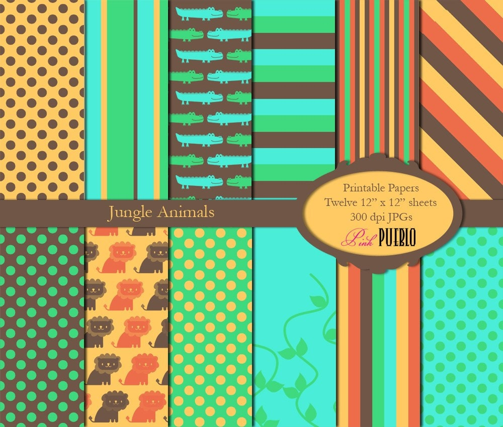 Jungle scrapbook ideas - Printable Paper Pack Jungle Animals Digital Scrapbook Paper Commercial License Also