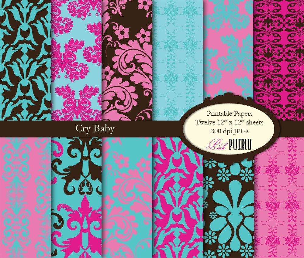 Scrapbook paper designs to print -  Printable Papers Scrapbook Papers In Damask Zoom