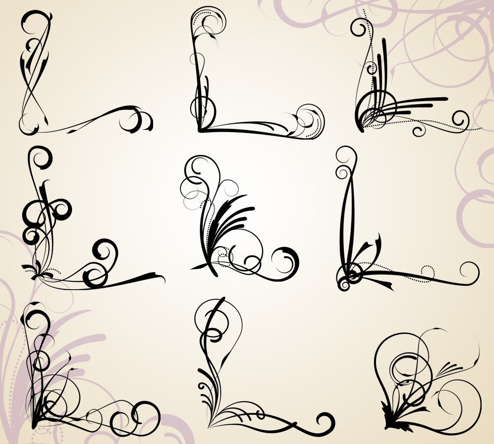 Corner flourishes clip art clipart commercial use