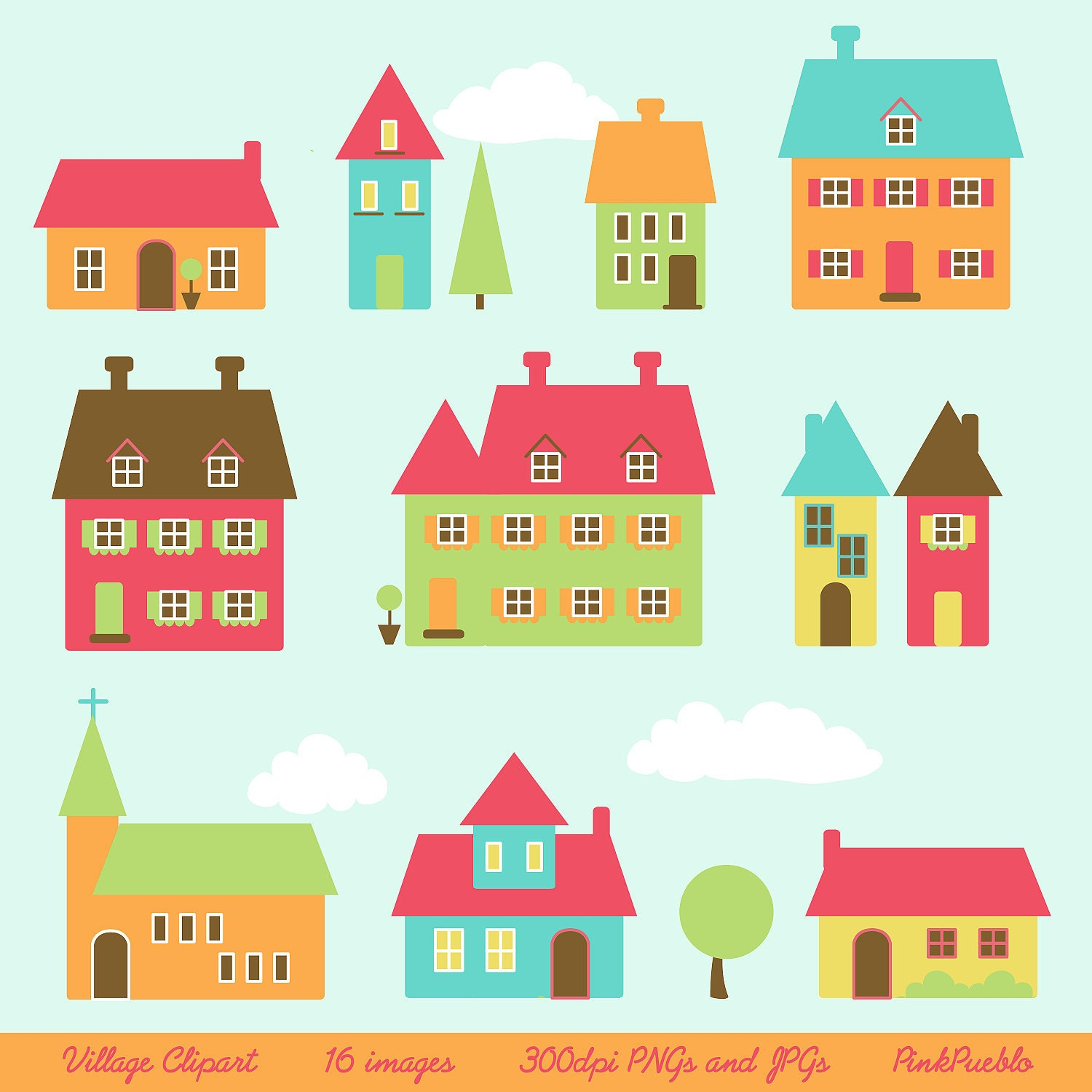 Village clip art clipart town clip art clipart houses clip art for Drawing of small house