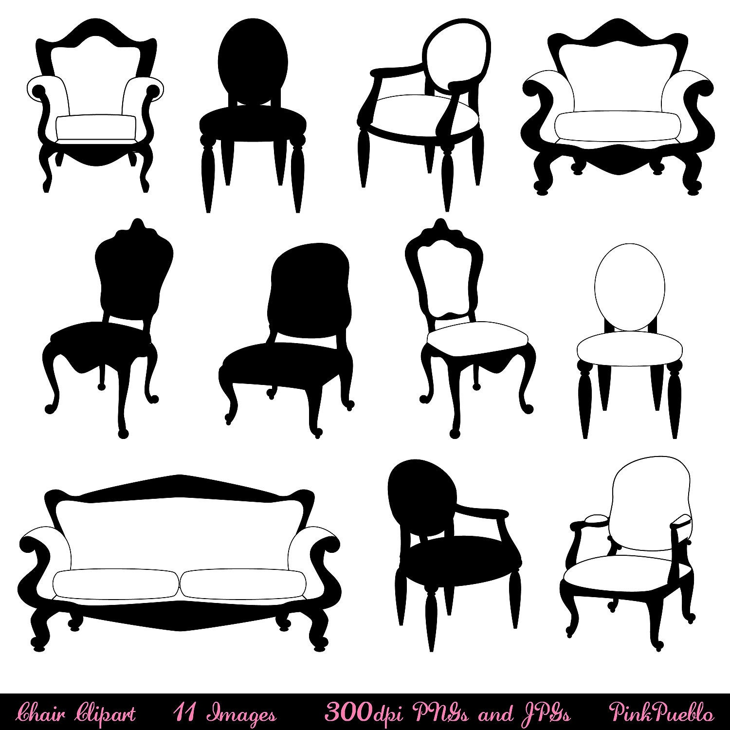 Chair Clip Art Clipart Silhouettes Furniture