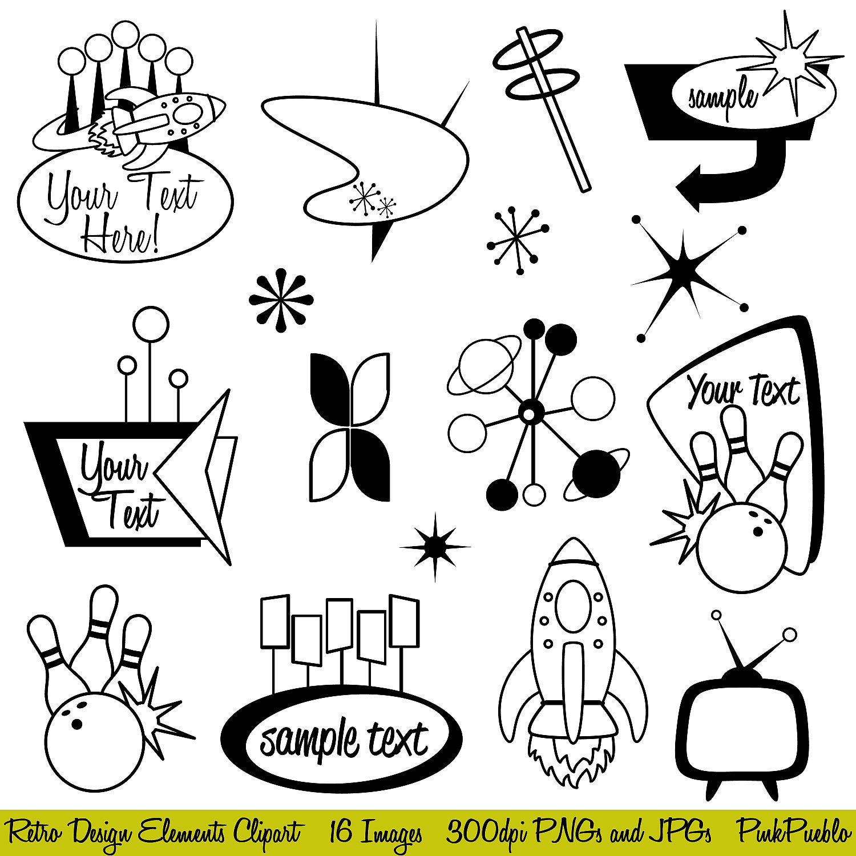 Retro Clipart Clip Art Mod or Vintage Clipart Clip by ...