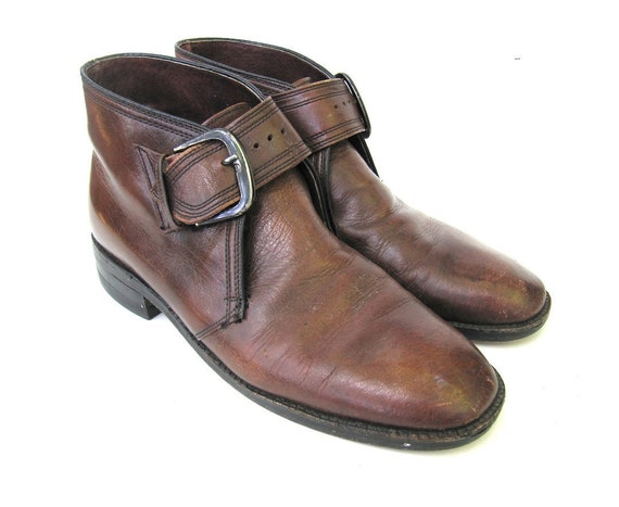 brown leather mens ankle boots with buckle by