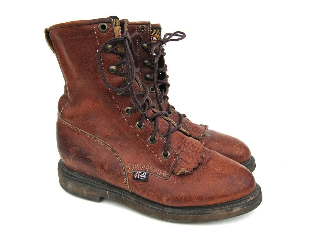 justin brown work boots lace up s by worldvintagefashion