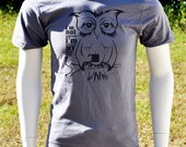 Coffee Owl, Original Graphic T, A Apparel Slate wBlack - FREE Domestic Shipping