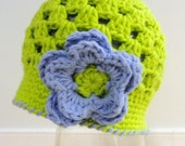 Size 3-6 months Crochet  Baby Beanie with Flower and Ready to ship