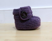 Crocheted Baby Booties in Dusty Purple (size 0-3, 3-6, 6-9, 9-12months)