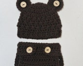 SUPER SALE - Crocheted Newborn Teddy Bear Baby Hat and Diaper Cover -  Photo Prop