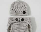 SUPER SALE - Crocheted Newborn Baby Beanie and Diaper Cover -  Photo Prop (Available in Different Color)