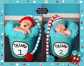 Limited Time Sale - Crochet  Striped Elf Hat Twin Set - Photo Prop (Available in Different Color)