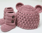 Croceted Baby Teddy Bear Beanie and Baby Booties in Dusty Rose (size 0-3, 3-6, 6-9, 9-12 months) - JCrochetShop