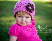 SALE - Crocheted  Baby Beanie with Flower