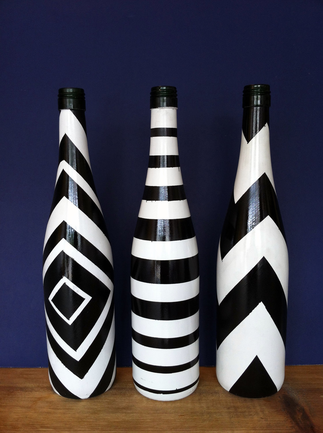 Hand Painted Wine Bottle Black And White