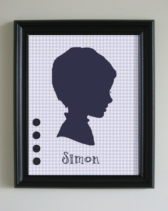 SALE - Custom Boy's 8x10 Paper Silhouette Portrait Framed - The Simon Silhouette