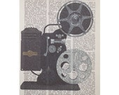 Vintage Movie Projector Printed on an Antique Book Page