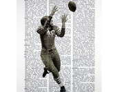 Vintage Football Player bw Print on an Antique Dictionary Page