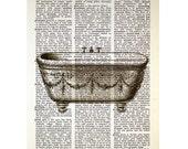 Decorative Vintage Bathtub on an Antique Book Page