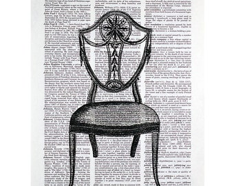 Vintage Hepplewhite Chair Print on an Antique Dictionary Page