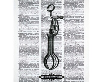Egg Beater Print on a Vintage Dictionary Page