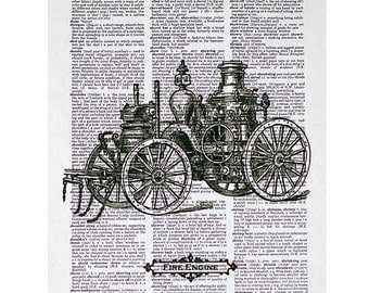 Steam Fire Engine Print on a Vintage Dictionary Page