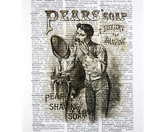 Pears Soap Print on a Vintage Dictionary Page