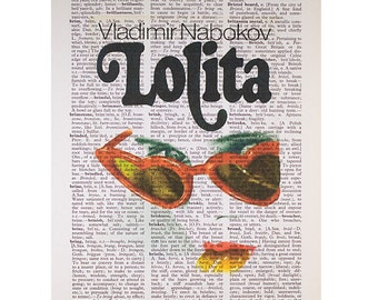 Lolita (Red Glasses) on a Vintage Dictionary Page