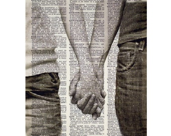 Holding Hands Print on a Vintage Dictionary Page