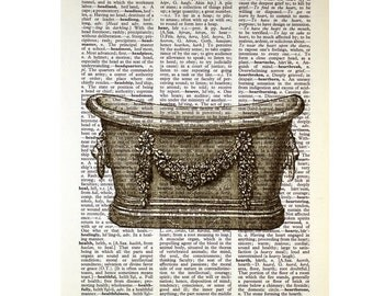 Vintage Bathtub on an Antique Book Page